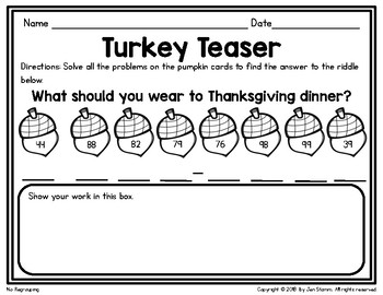 Double Digit Addition Thanksgiving Scavenger Hunt
