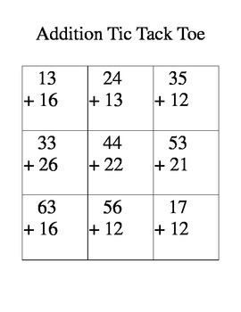 Double Digit Addition Tic Tac Toe