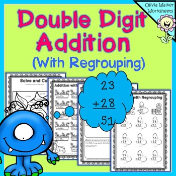 Double Digit Addition - With Regrouping (Two Digit Adding) Printables Worksheets