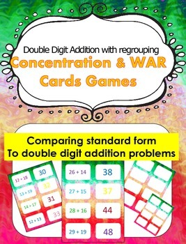 Double Digit Addition With Regrouping Concentration Game and game of War