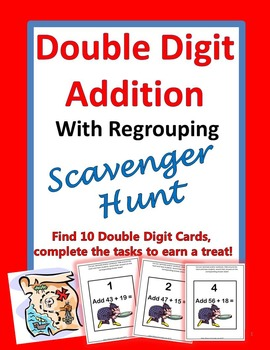 Double Digit Addition With Regrouping Scavenger Hunt