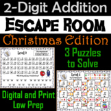 Double Digit Addition With and Without Regrouping: Christmas Escape Room Math