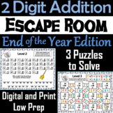 Double Digit Addition With and Without Regrouping: End of Year Escape Room Math