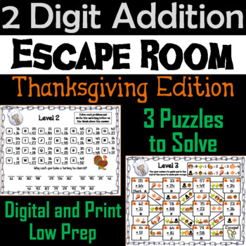 Double Digit Addition With and Without Regrouping Game: Thanksgiving Escape Room