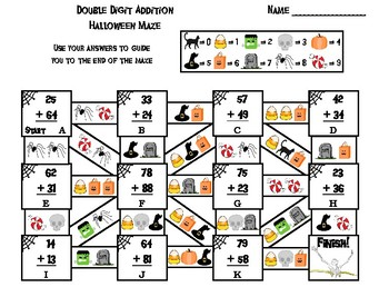 Double Digit Addition With and Without Regrouping Halloween Math Maze