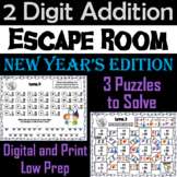 Double Digit Addition With and Without Regrouping: New Year's Escape Room Math