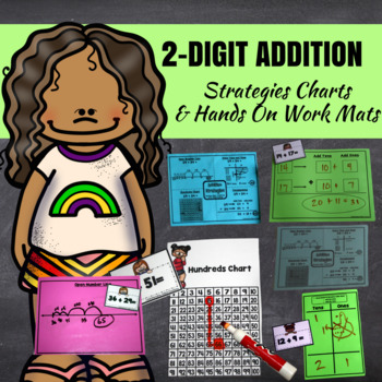 Double Digit Addition- Two Digit Addition Games (War, Memory, Roll, Say Keep)