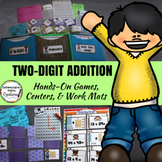 Double Digit Addition- Two Digit Addition Games (War, Memo