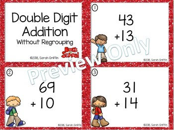 Double Digit Addition Without Regrouping ~ Back to School Math Task Cards
