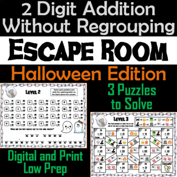 Double Digit Addition Without Regrouping Game: Halloween Escape Room Math