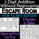 Double Digit Addition Without Regrouping Game: New Year's Escape Room Math