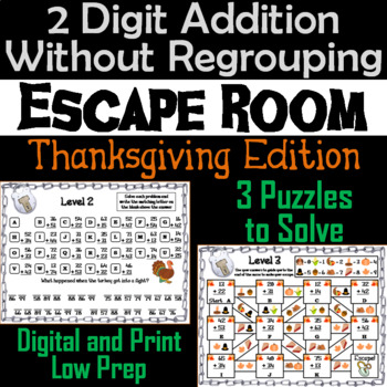 Double Digit Addition Without Regrouping Game: Thanksgiving Escape Room Math