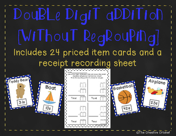 Double Digit Addition Without Regrouping - Store Item Card