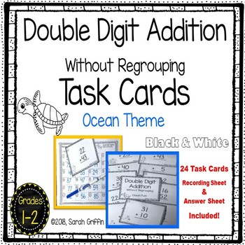 Double Digit Addition Without Regrouping ~ Ocean  Math Center ~ Task Cards