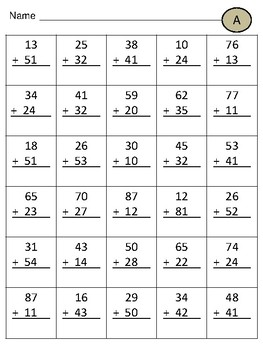 Double Digit Addition Without Regrouping Practice Sheets