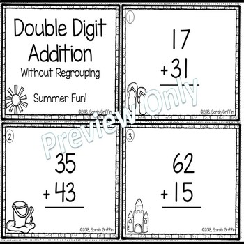Double Digit Addition Without Regrouping ~ Summer  Math Center ~ Task Cards