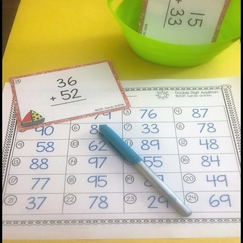 Double Digit Addition Without Regrouping ~ Summer theme Math Center ~ Task Cards