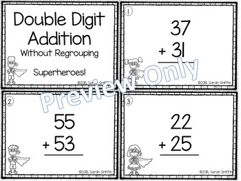Double Digit Addition Without Regrouping ~ Superhero  Math Center ~ Task Cards