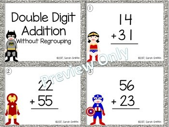 Double Digit Addition Without Regrouping ~ Superheroes Math Center ~ Task Cards