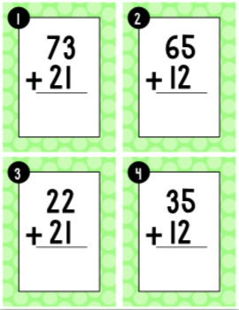 Double Digit Addition Without Regrouping Task Cards