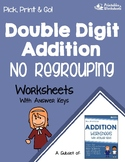 Double Digit Addition Without Regrouping Worksheets, Adding With Missing Addends