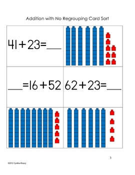 Double Digit Addition and Subtraction Card Sort Activities within 100
