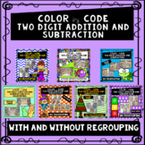 Two Digit Addition and Subtraction Color by Code Bundle