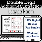 Double Digit Addition & Subtraction Activity: Digital Escape Room Breakout Game