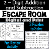 Escape Room: Double Digit Addition and Subtraction With and Without Regrouping