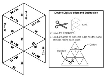 Double Digit Addition and Subtraction Game: Math Tarsia Puzzle