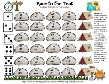 Double Digit Addition and Subtraction Game (No Prep)