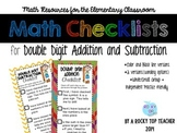 Double Digit Addition and Subtraction Math Checklists