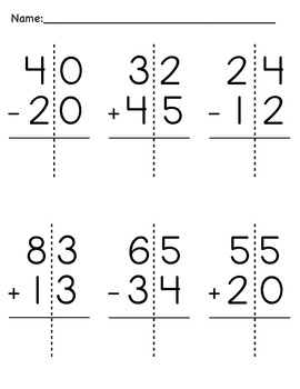 Double-Digit Addition and Subtraction Packet