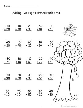 Fall Double Digit Addition and Subtraction Pages