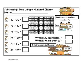 Addition and Subtraction Double Digit Practice November Theme
