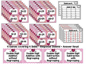 Double Digit Addition and Subtraction Scoot Games - Valentine Edition
