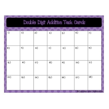Double Digit Addition and Subtraction Task Cards