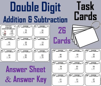 Double Digit Addition Task Cards/ Double Digit Subtraction