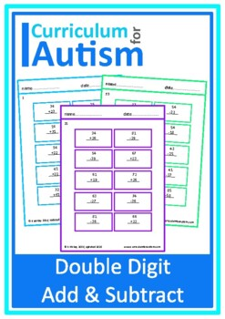Double Digit Addition Subtraction Worksheets, Autism, Special Education, math