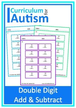 Double Digit Addition Subtraction Worksheets, Autism, Spec