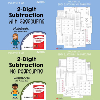 2 Digit Addition and Subtraction No Regrouping, With Regrouping Worksheets