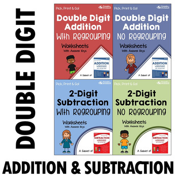 Double Digit Addition and Subtraction Worksheets With Answ