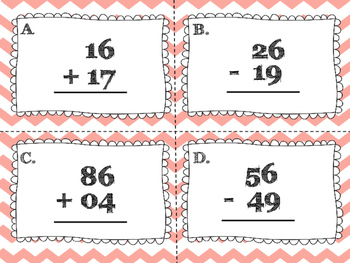 Double Digit Addition and Subtraction (with regrouping) Task Cards