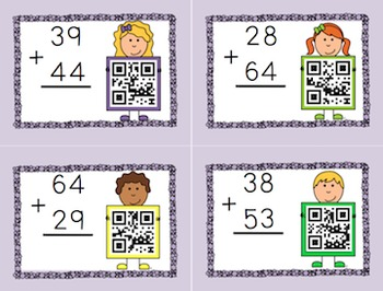 Double Digit Addition with QR codes (Regrouping)