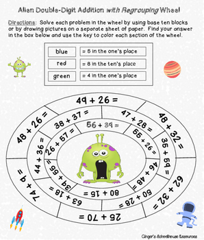 Double Digit Addition with Regrouping Alien War Card Game