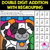 Double Digit Addition with Regrouping Color by Number Dog