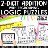 Distance Learning Double Digit Addition with Regrouping Logic Puzzles | Digital