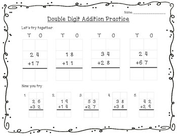 Double Digit Addition with Regrouping Practice Page, Activities, and Center