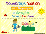Double Digit Addition with Regrouping Springtime Connect Four Game