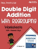 Adding Double Digit Addition with Regrouping Worksheets with Answer Keys